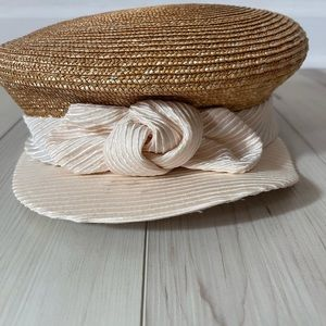 Boho Eric Jarvis wicker newsboy cap with bow